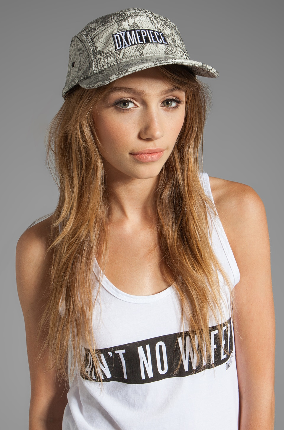 Dimepiece 5-Panel Cap in Grey Snake