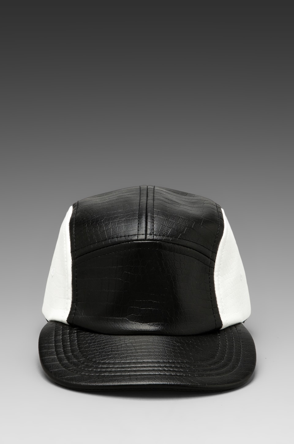 Dimepiece 5-Panel Crocodile Cap in Black/ White