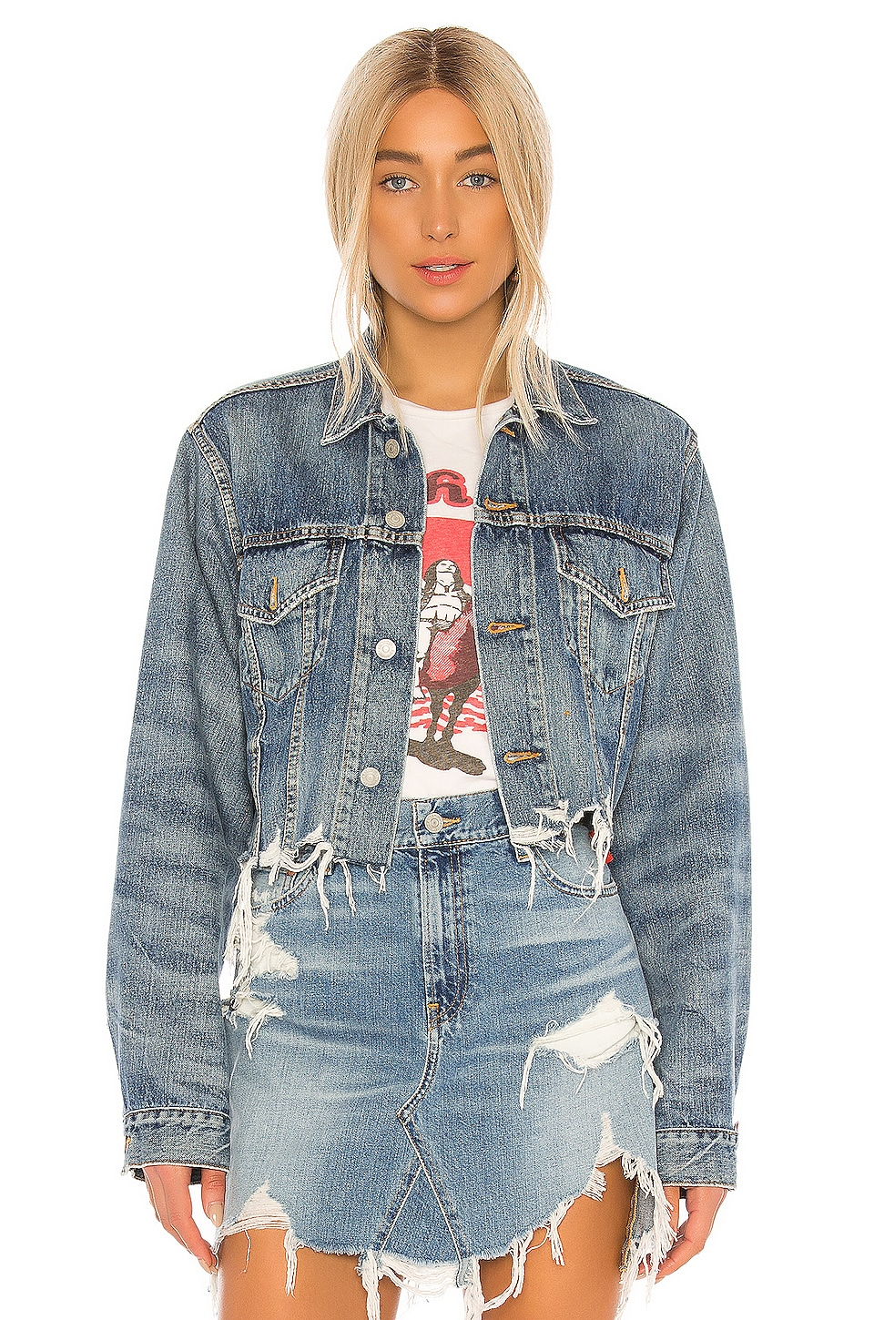 Denimist Cropped Agnes Trucker Jacket in Mote Destroyed