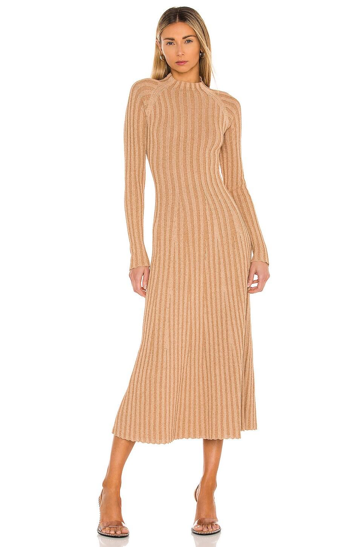 DION LEE Midi dresses NATURAL STRIPE RIB DRESS