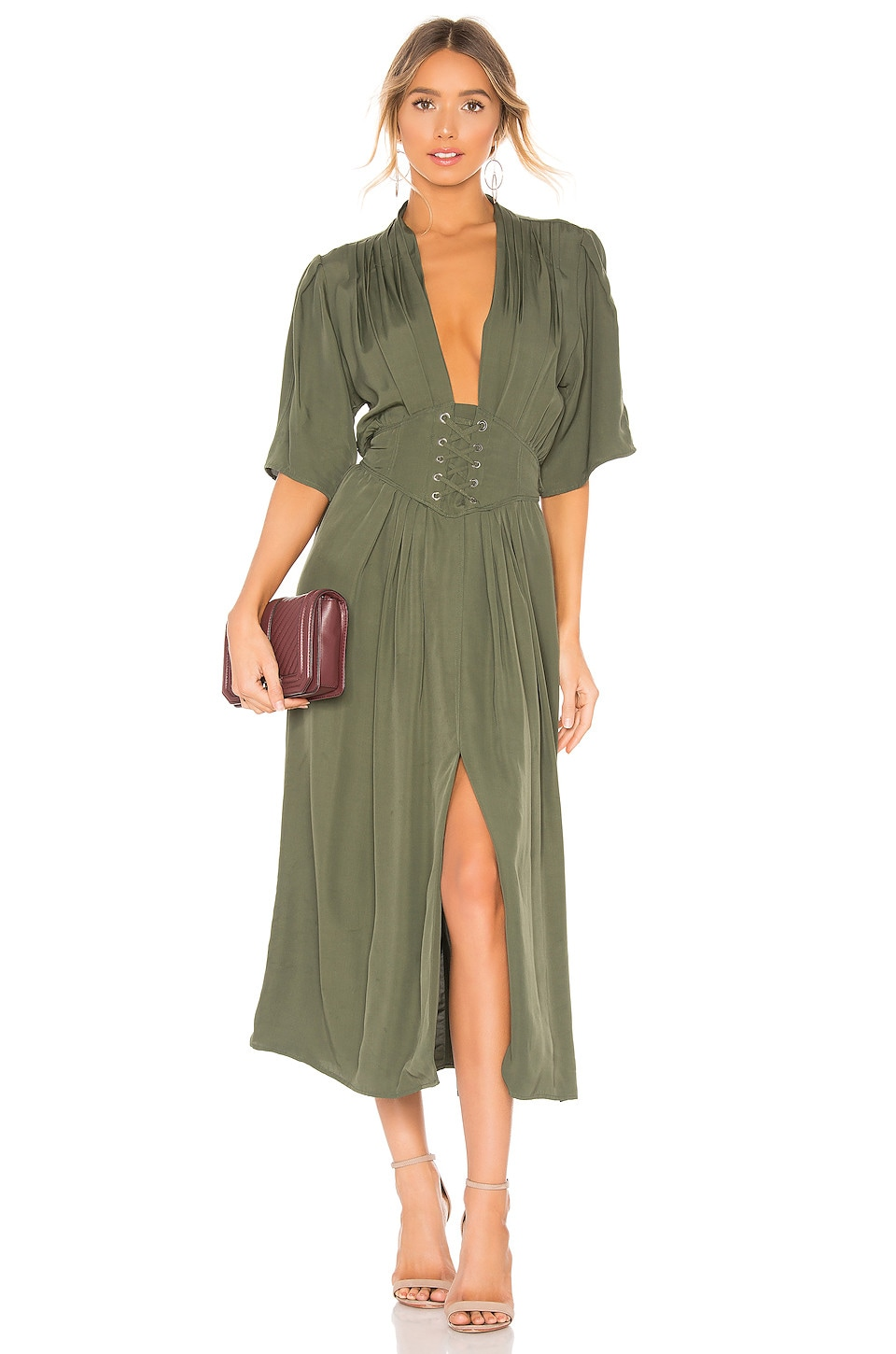 Divine Heritage Laced Up Midi Dress in Olive Branch