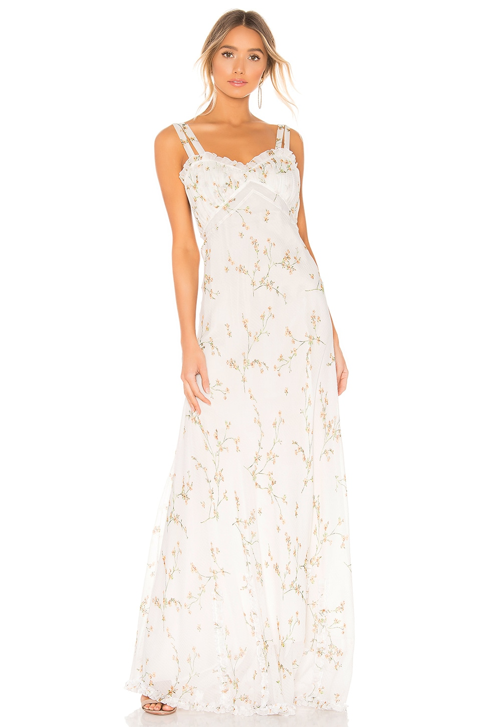 Divine Heritage Velvet Trim Maxi Dress in White Light