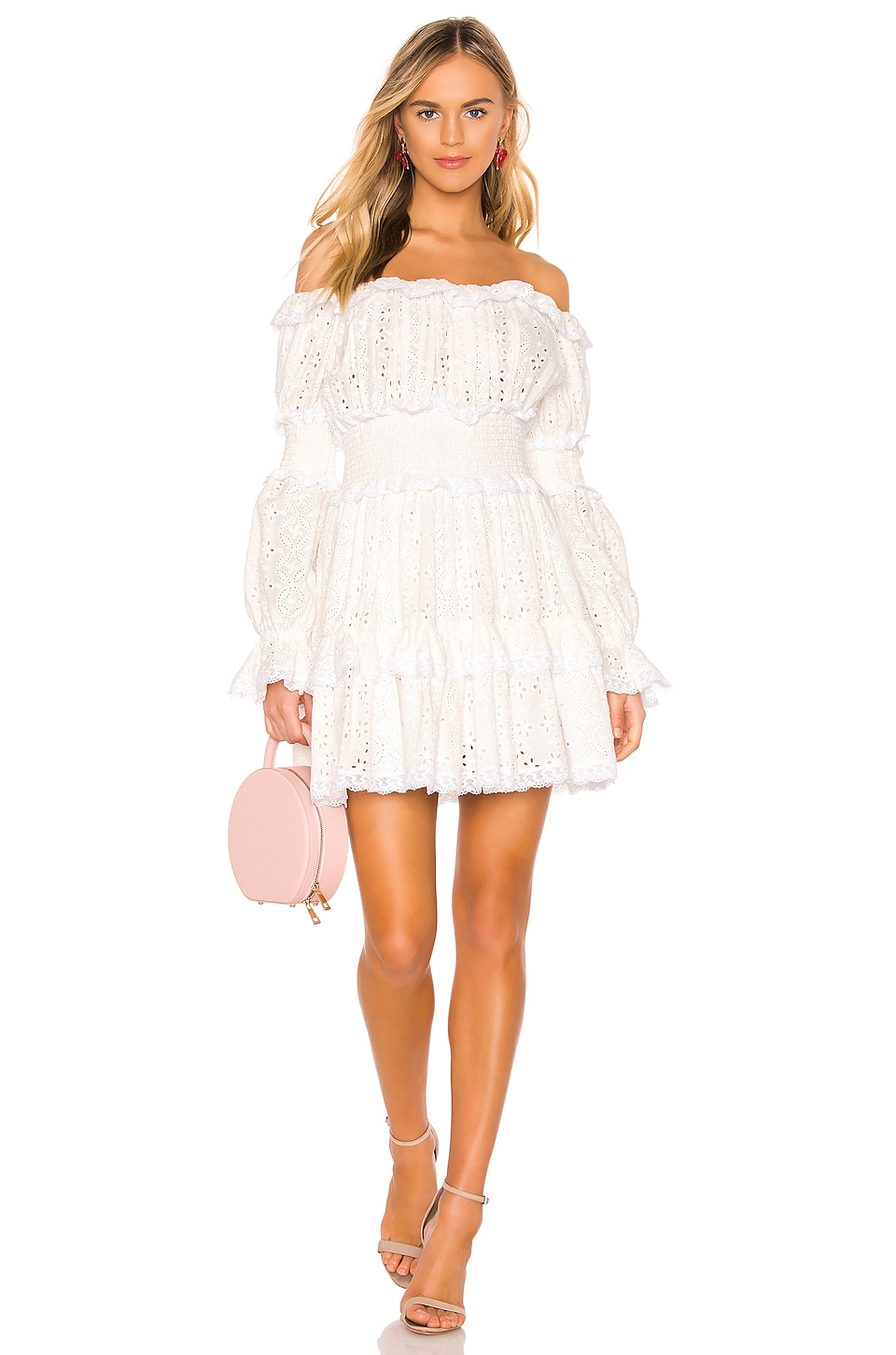 Divine Heritage Off The Shoulder Dress in White Light
