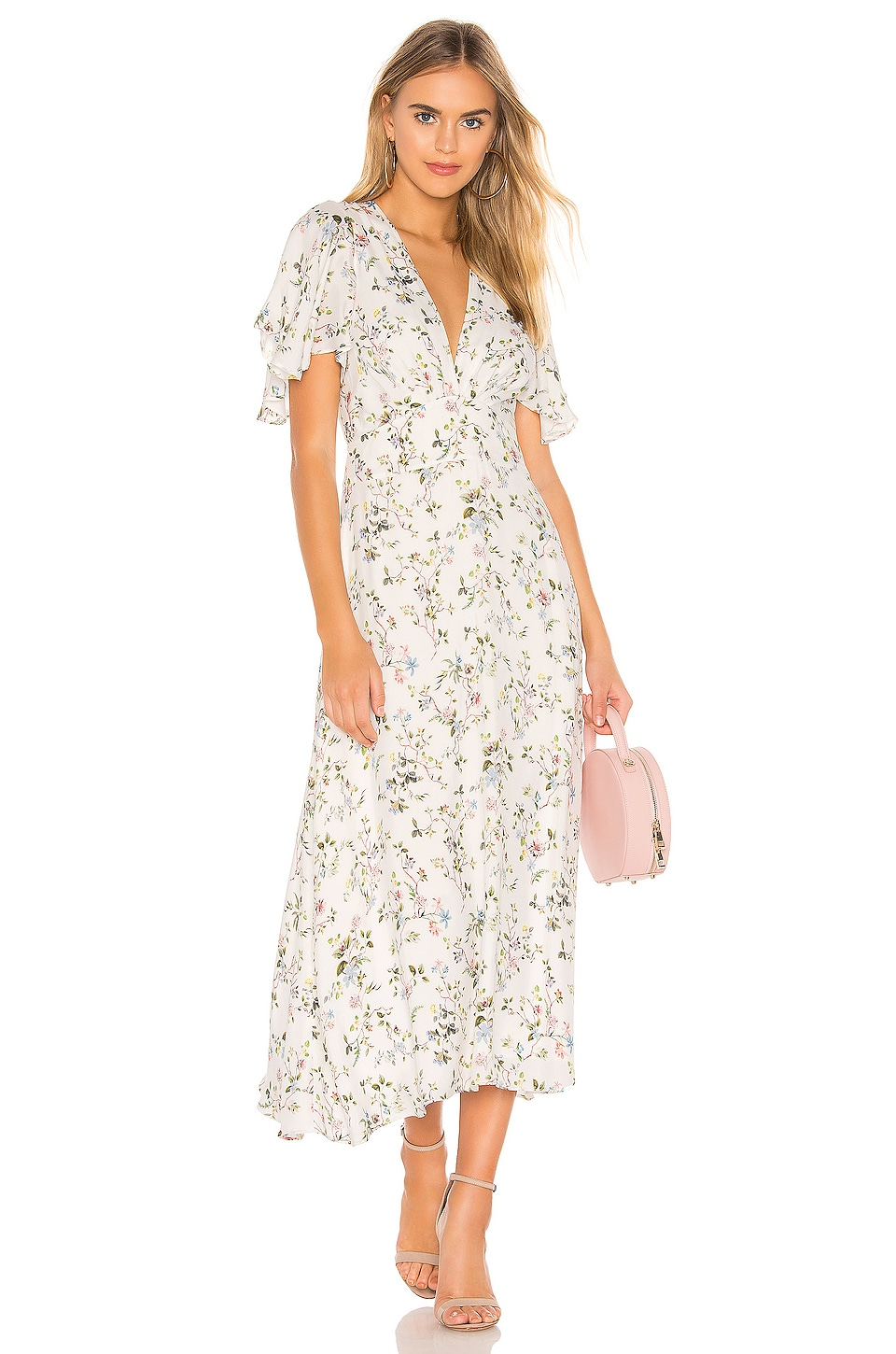 Divine Heritage Flutter Midi Dress in White Light