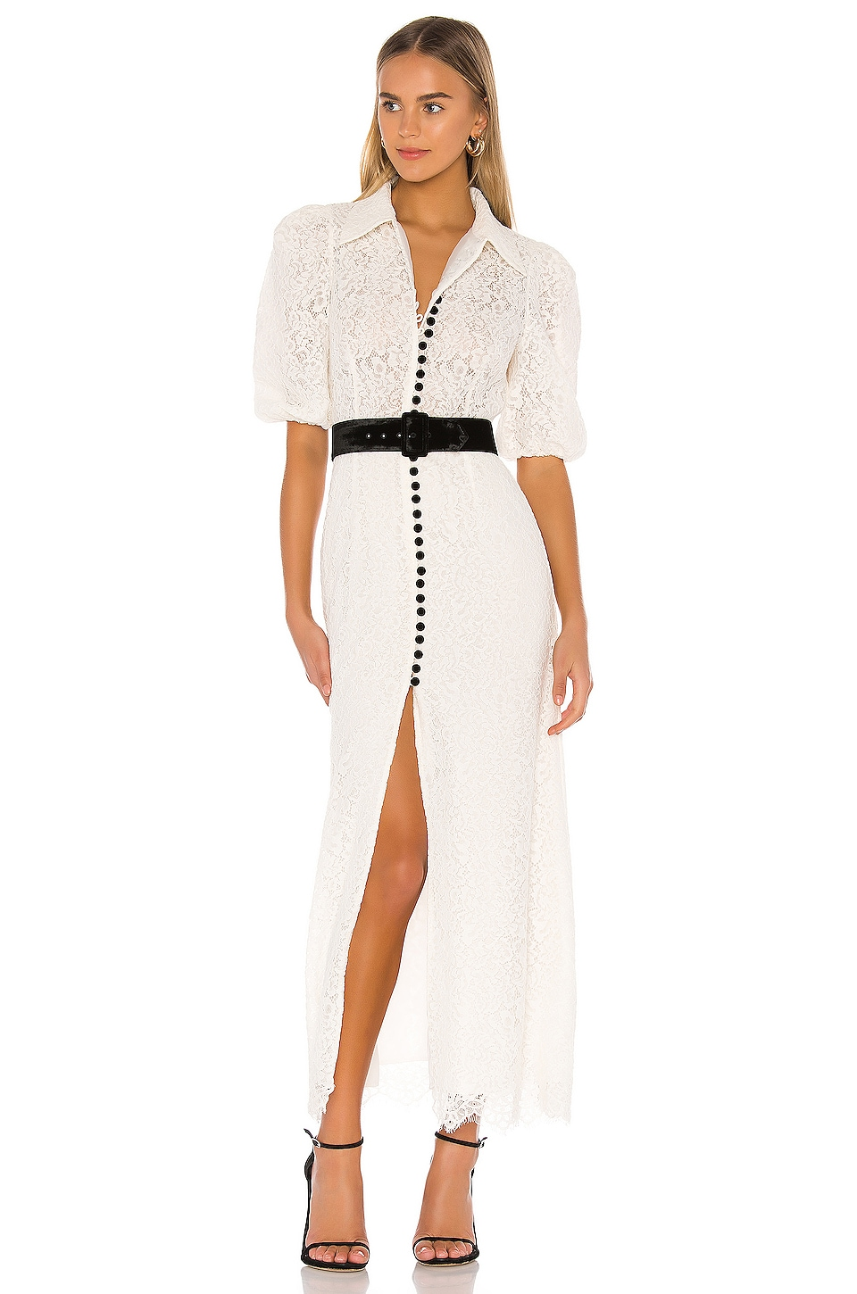 Divine Heritage Velvet Button Lace Dress in Ivory Lace