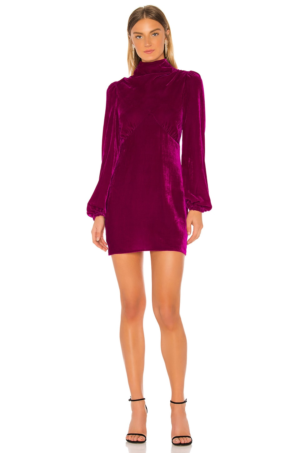 Divine Heritage Mock Neck Mini Dress in Fuschia