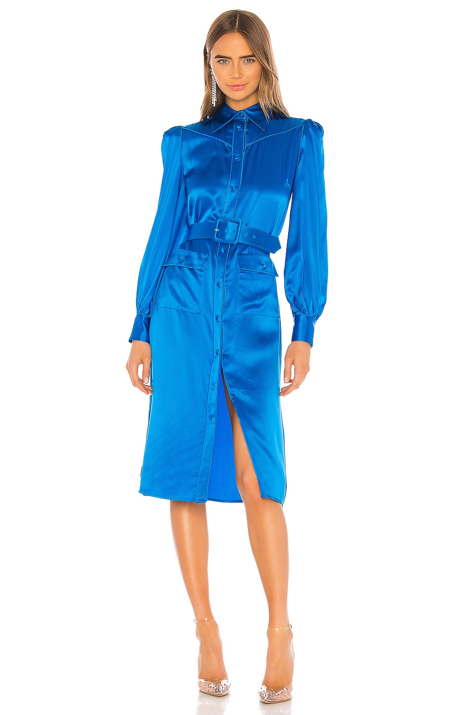 Divine Heritage Shirt Dress With Belt in Azure Blue