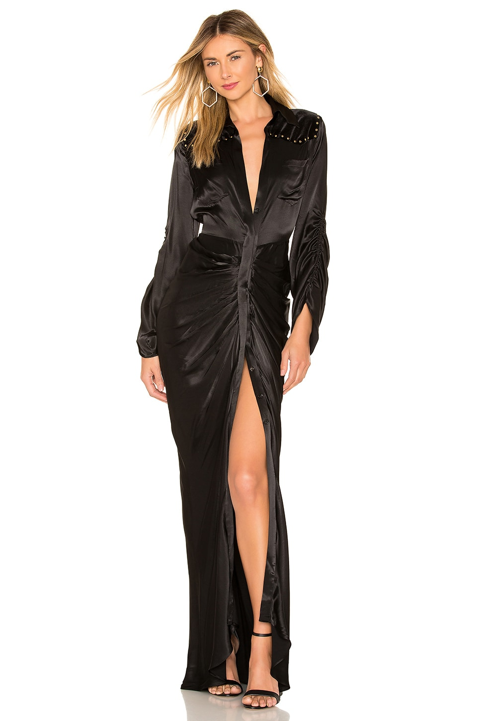 Divine Heritage Velvet Yolk Shirt Dress in Onyx