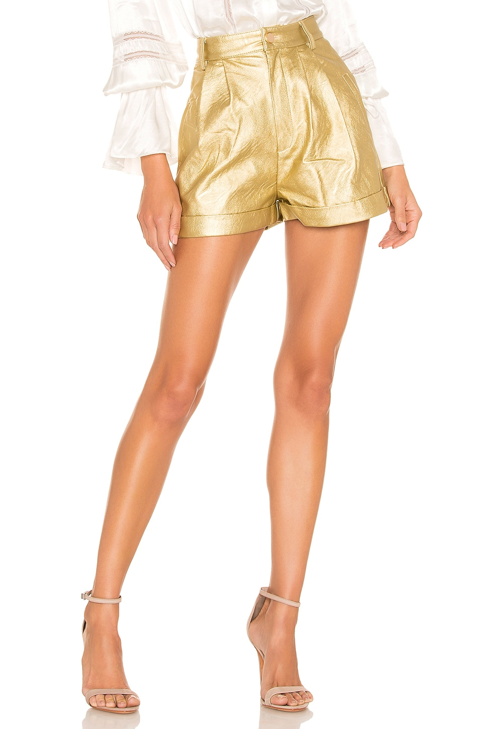 Divine Heritage Faux Leather Proper Cuffed Short en Gold