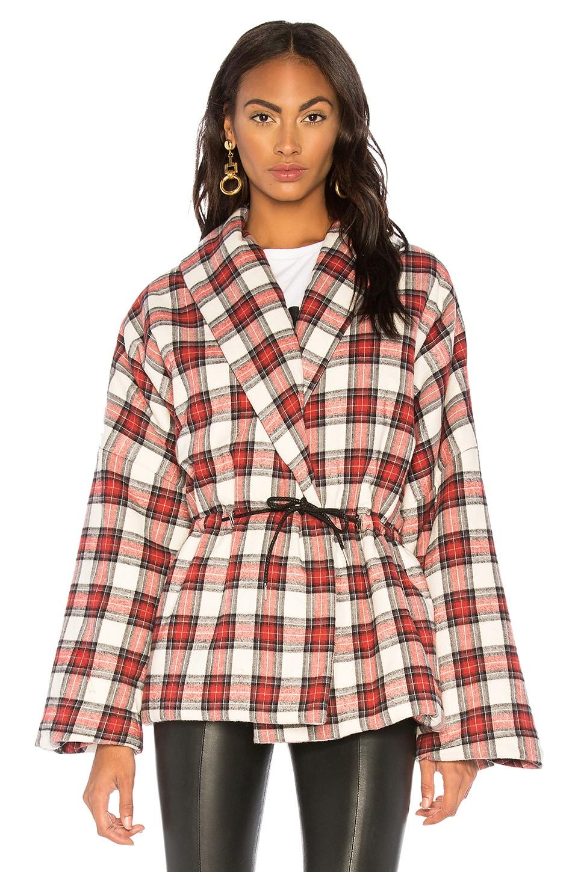 Plaid Puffer Kimono