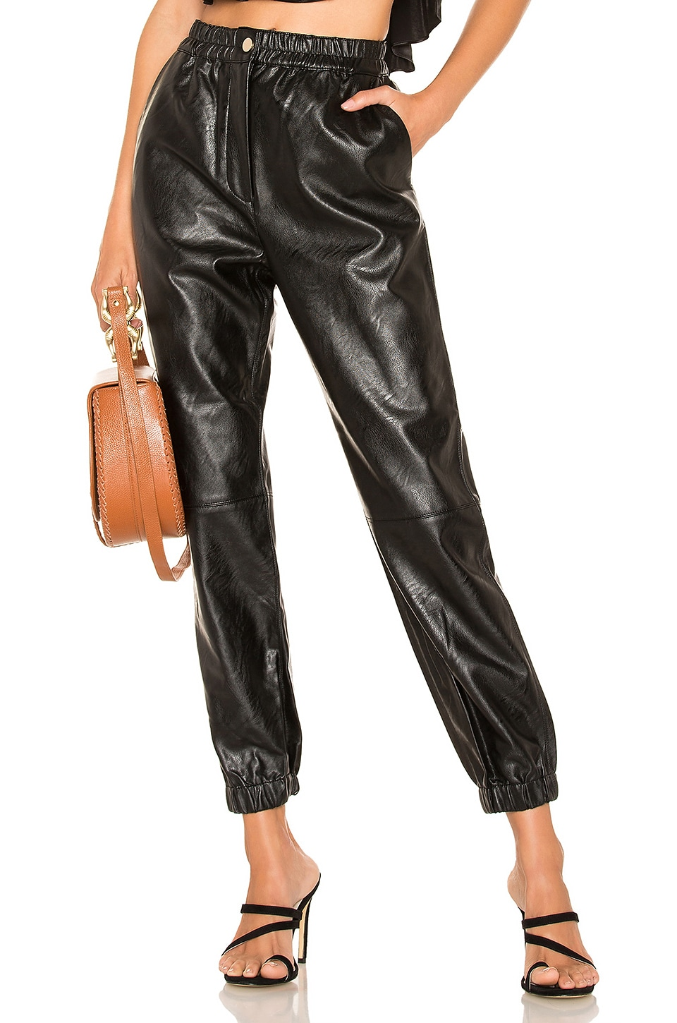Divine Heritage Fly Front Faux Leather Pant in Onyx