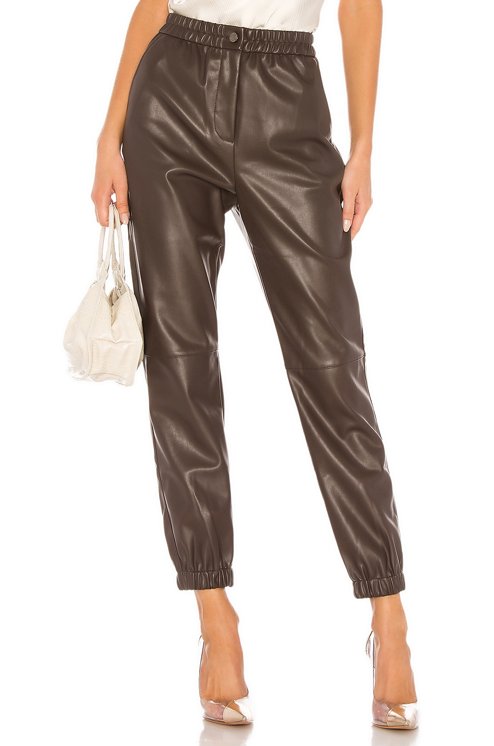 Divine Heritage Vegan Leather Fly Front Sweatpant in Earth