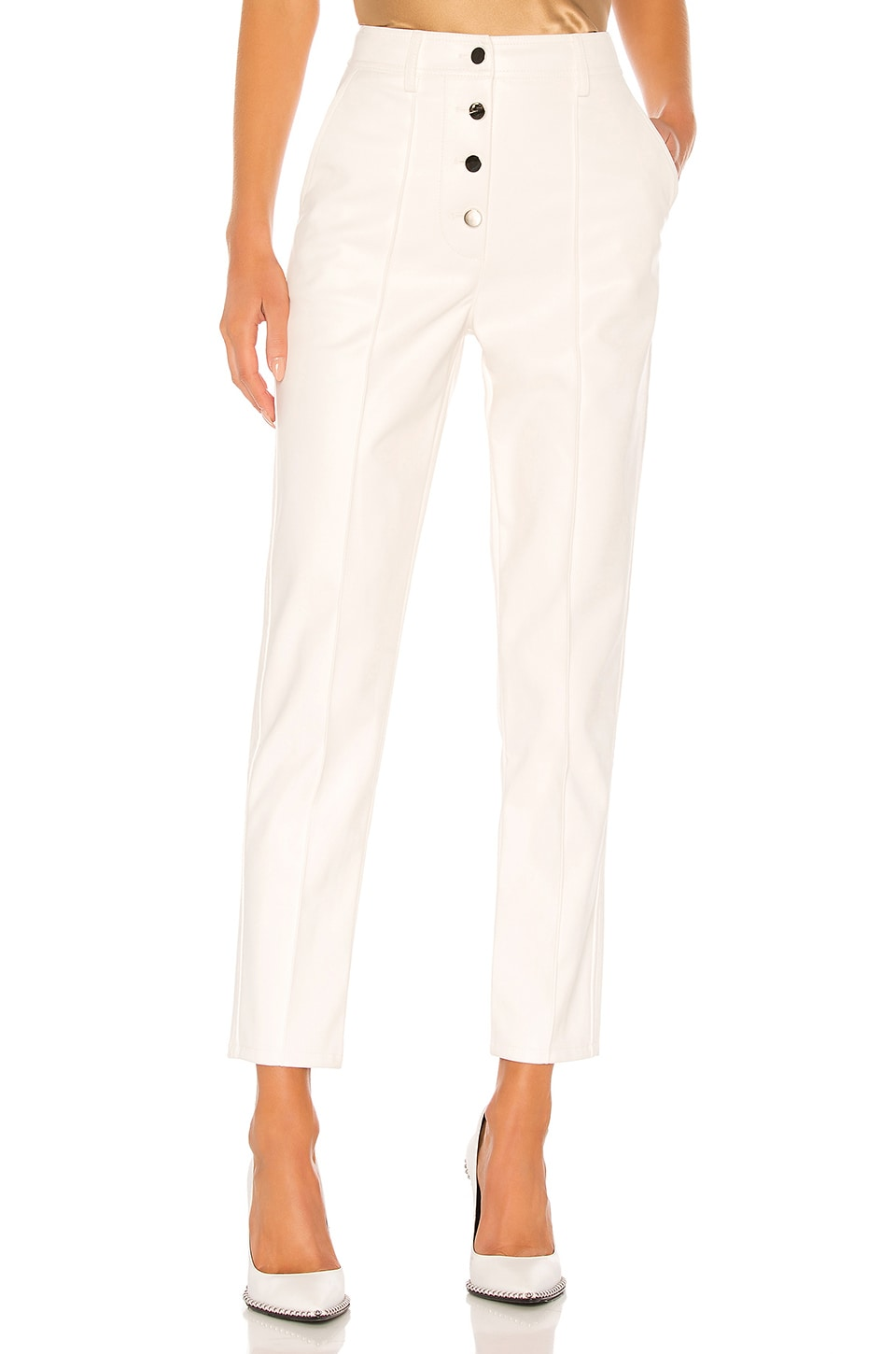 Divine Heritage Vegan Leather High Waisted Pant in White
