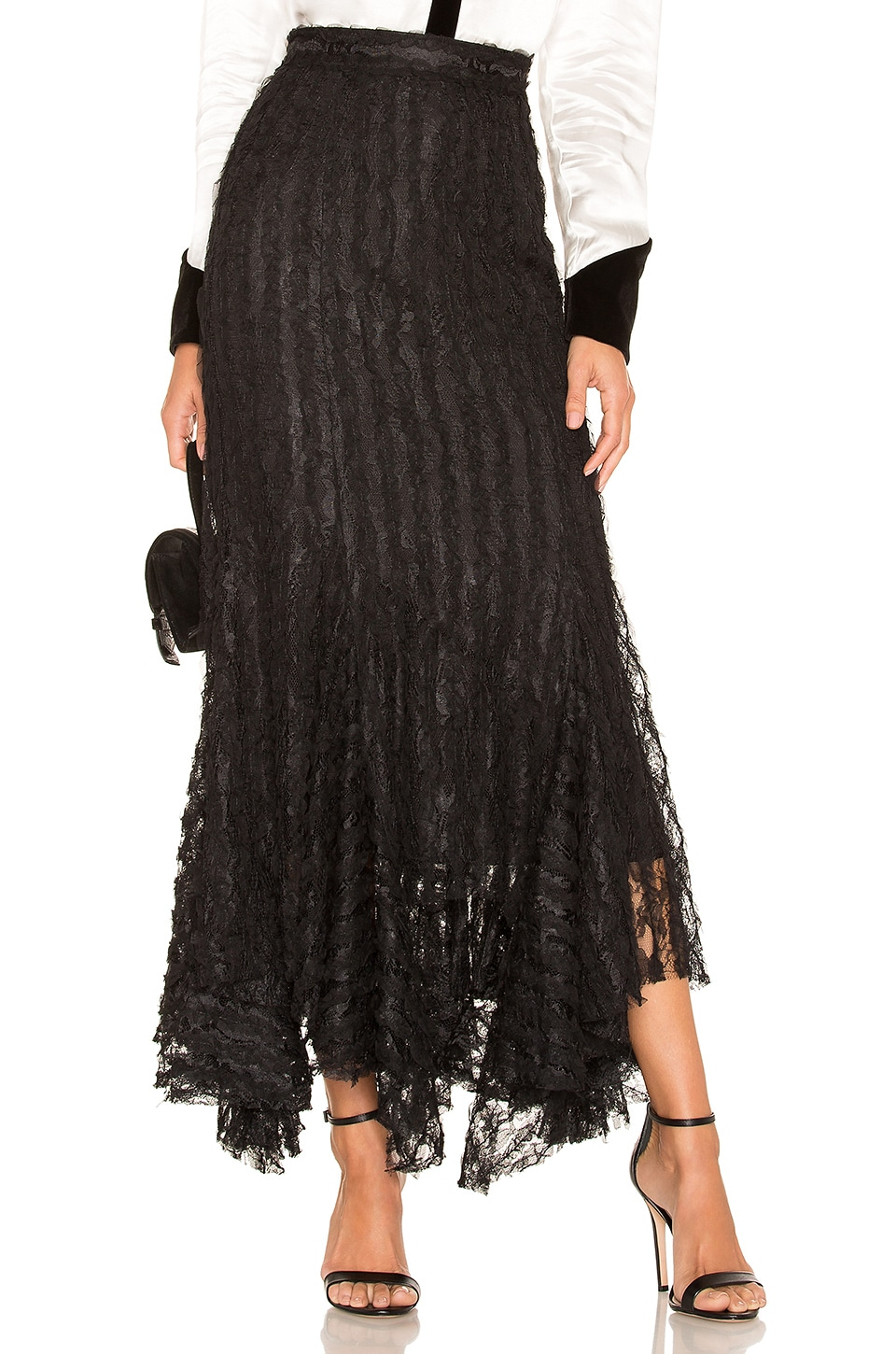 Divine Heritage Lace Midi Skirt in Onyx