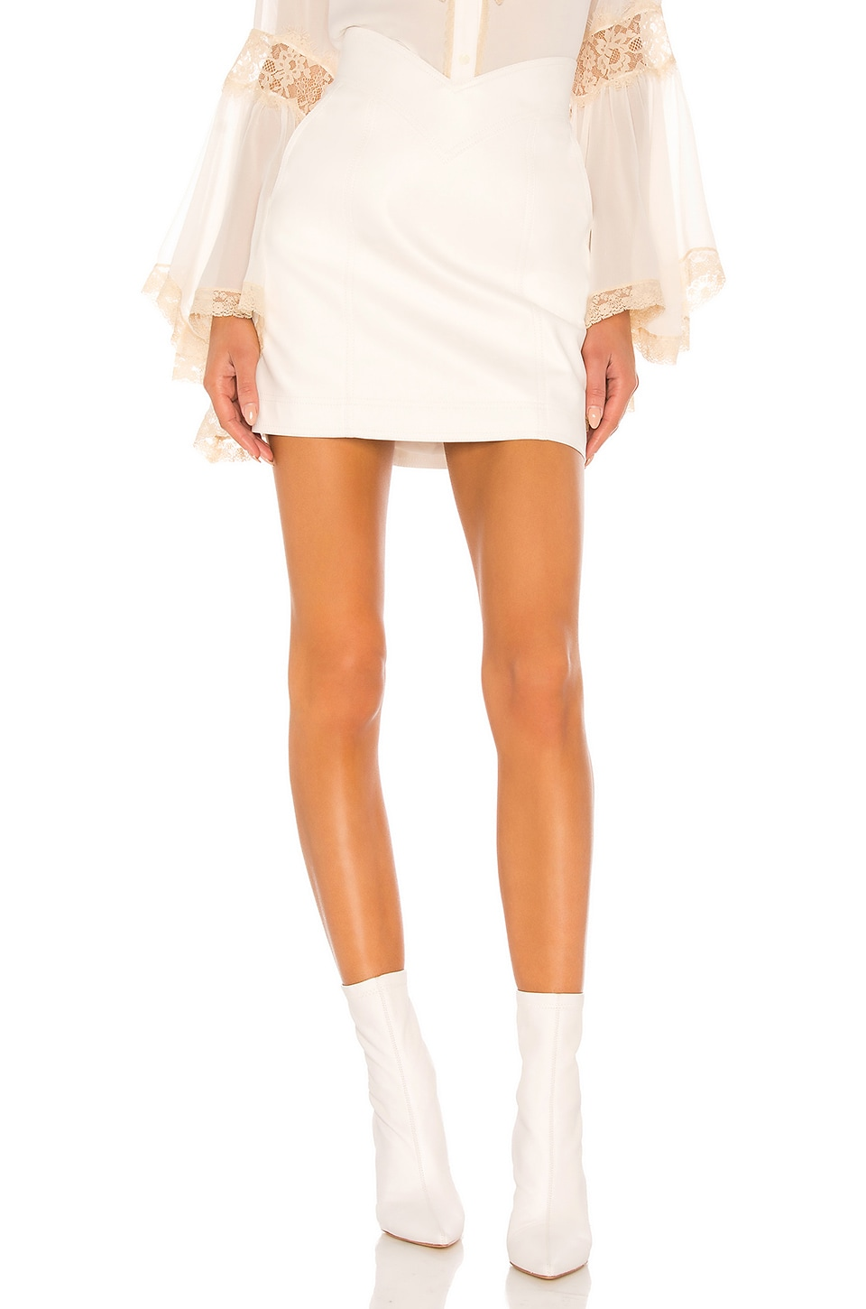 Divine Heritage Vegan Leather Mini Skirt in White