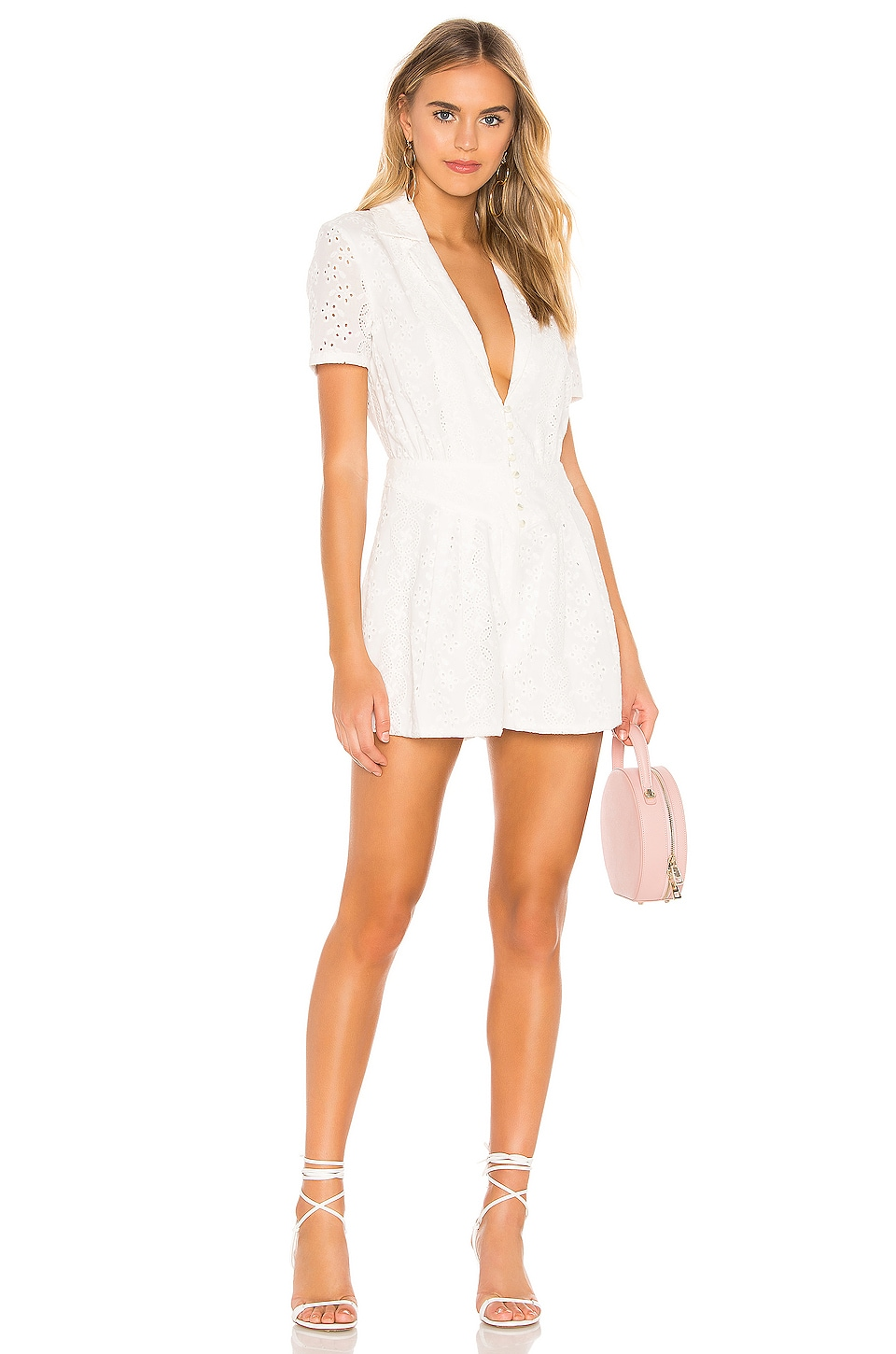 Divine Heritage Pleated Romper in White Light