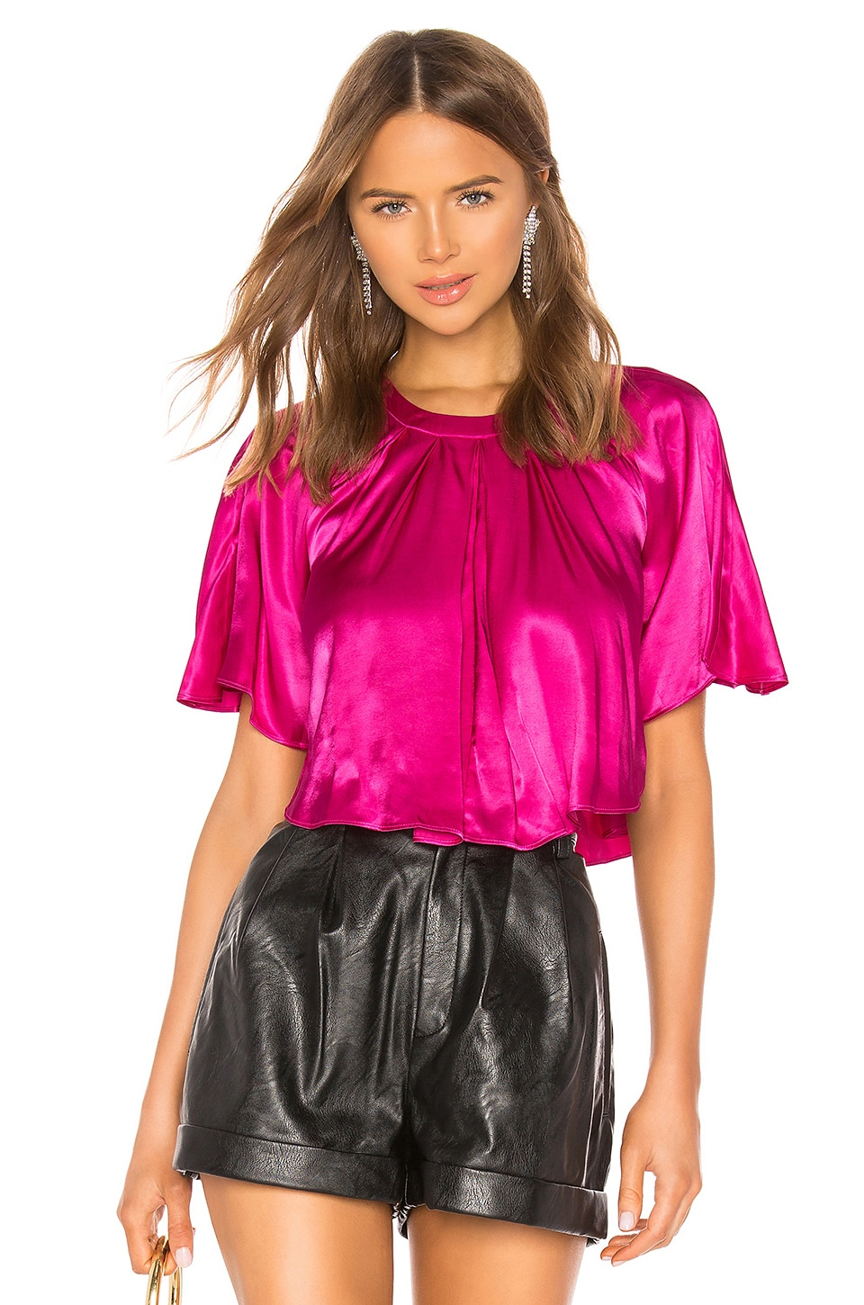 Divine Heritage Cropped Cape Blouse in Magenta