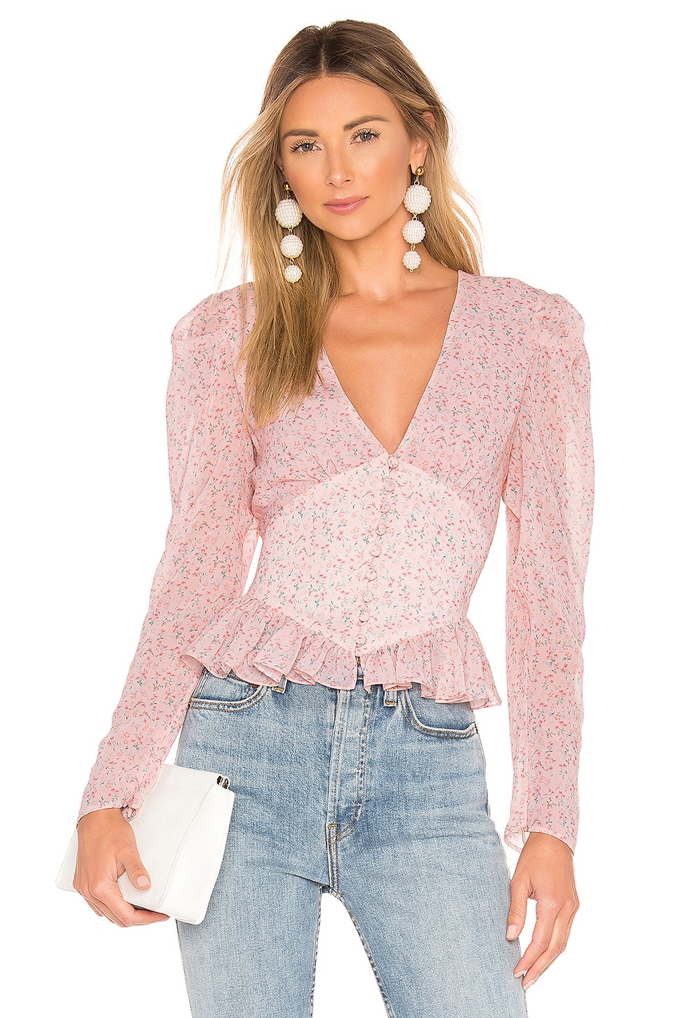 Divine Héritage Tops DIVINE HERITAGE RUFFLE WAIST BUTTON UP IN PINK.