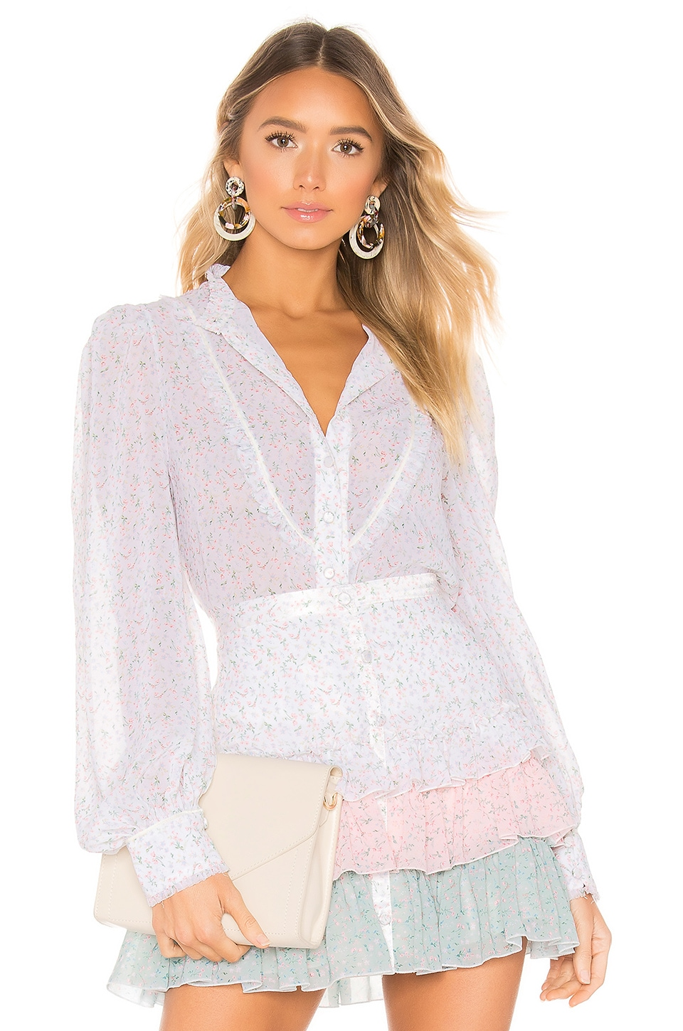 Divine Heritage Button Up Blouse in White Light