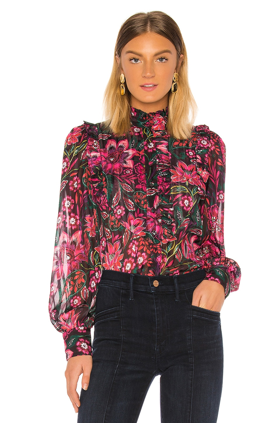 Divine Heritage Bib Front Ruffle Blouse in Pink Hungarian Floral