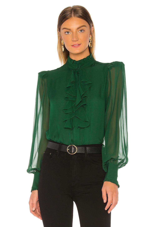 Divine Heritage Ruffle Front Top in Emerald