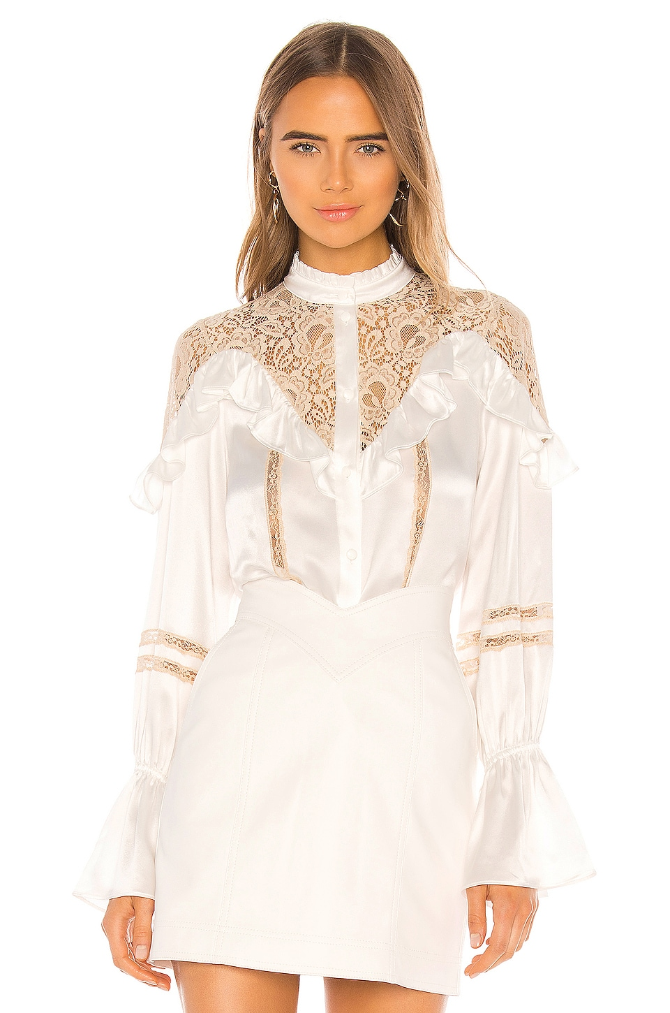 Divine Heritage Lace Inset Blouse in Ivory & Tea Stain Lace