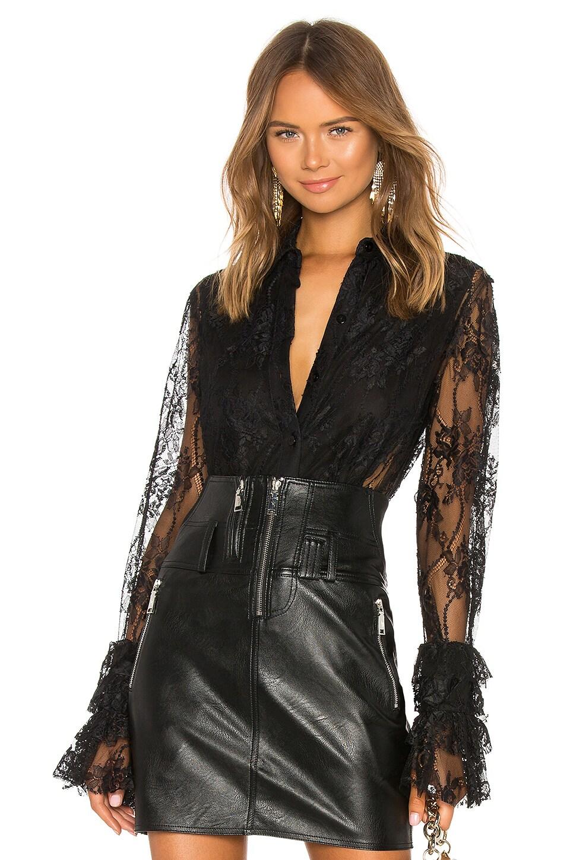 Divine Heritage Lace Tuxedo Shirt in Black