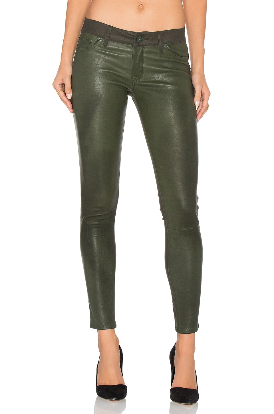 DL1961 Emma Leather Power Legging in Pine