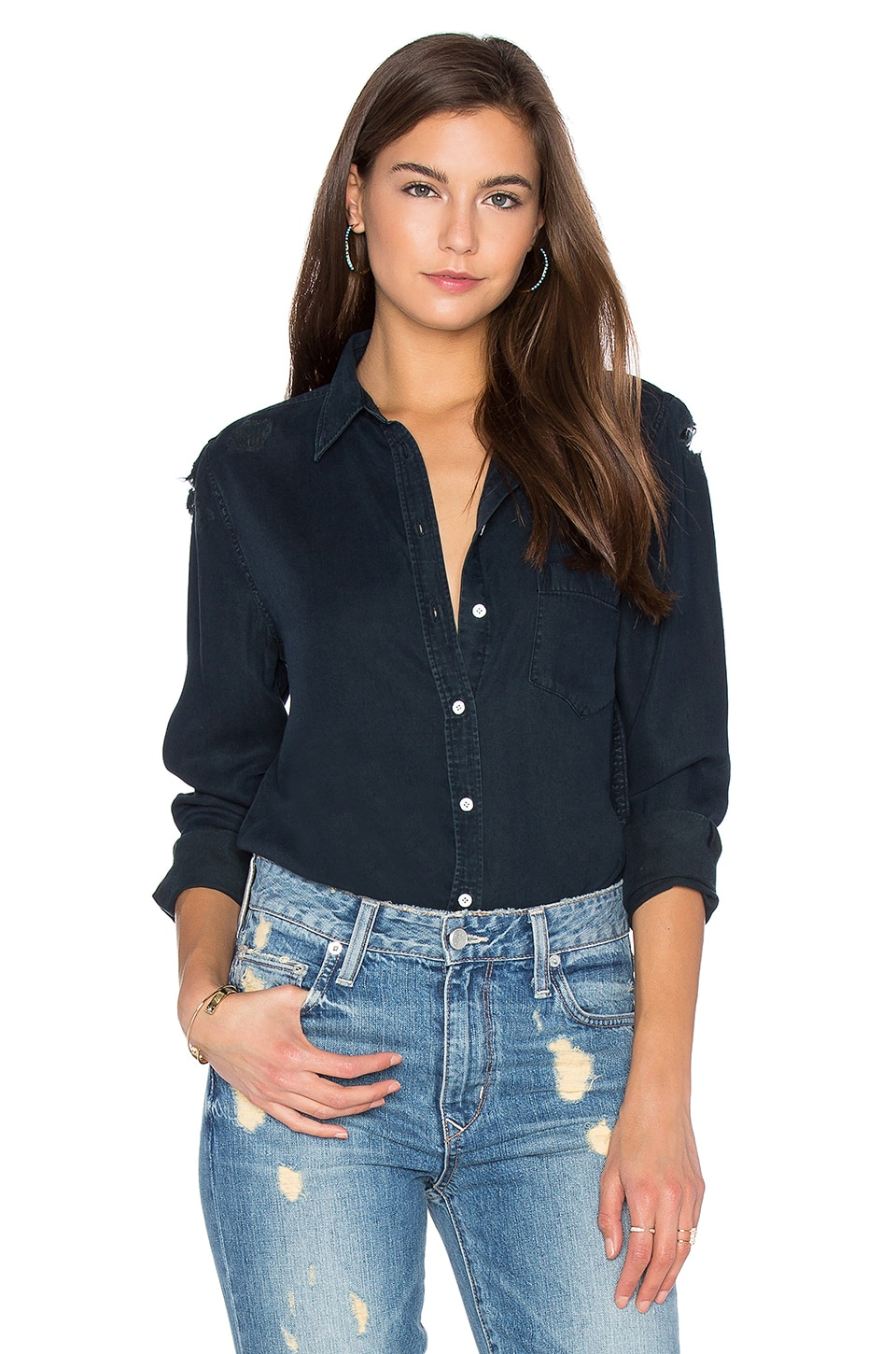 DL1961 Mercer & Spring Button Up in Black Overdye