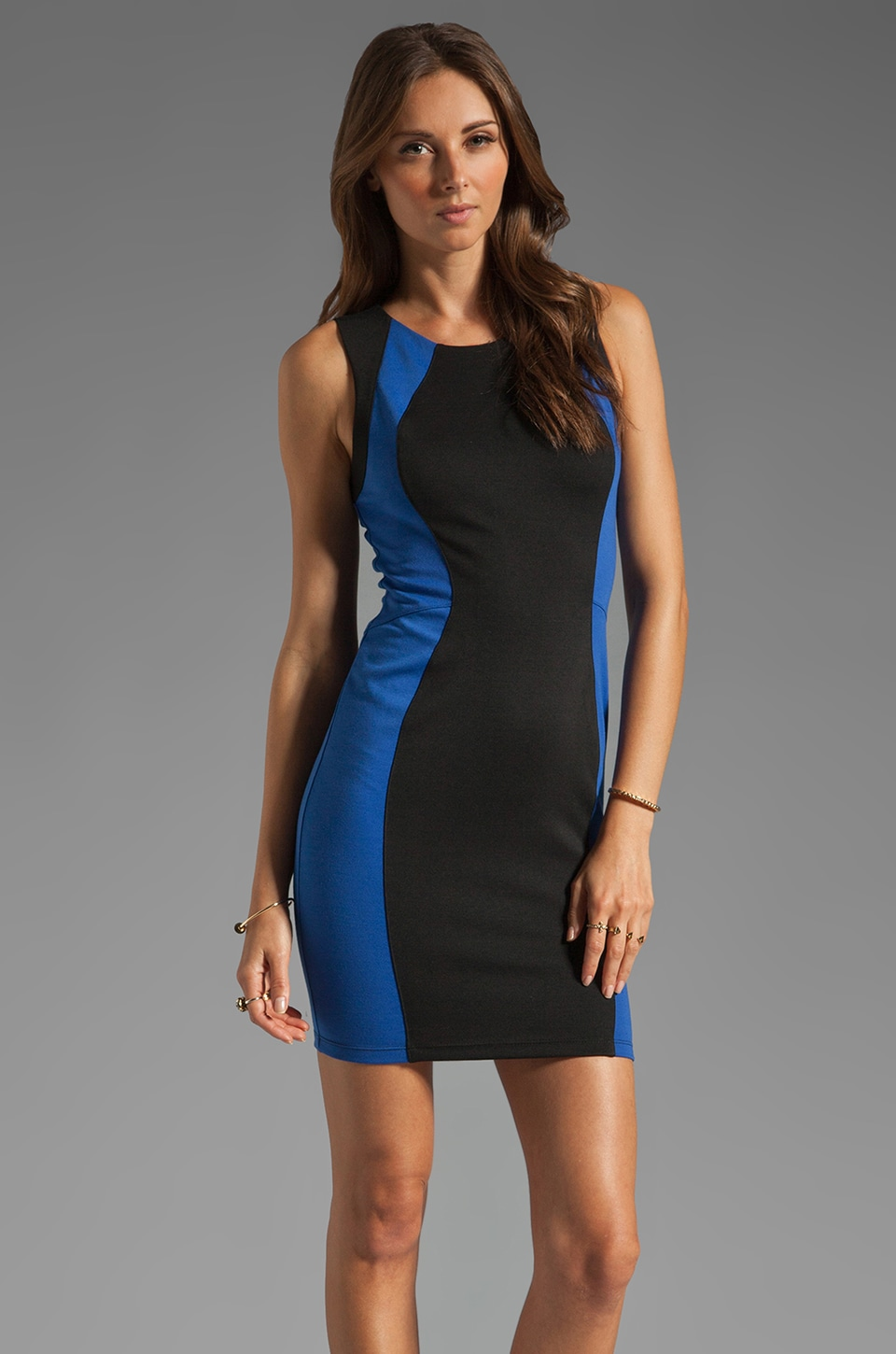 David Lerner Colorblock Mini Dress in Back/ Royal