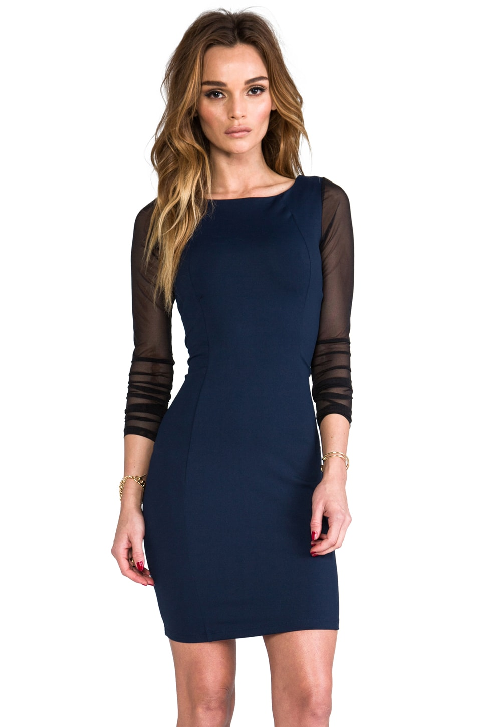 David Lerner The Waldorf Dress in Navy/Black