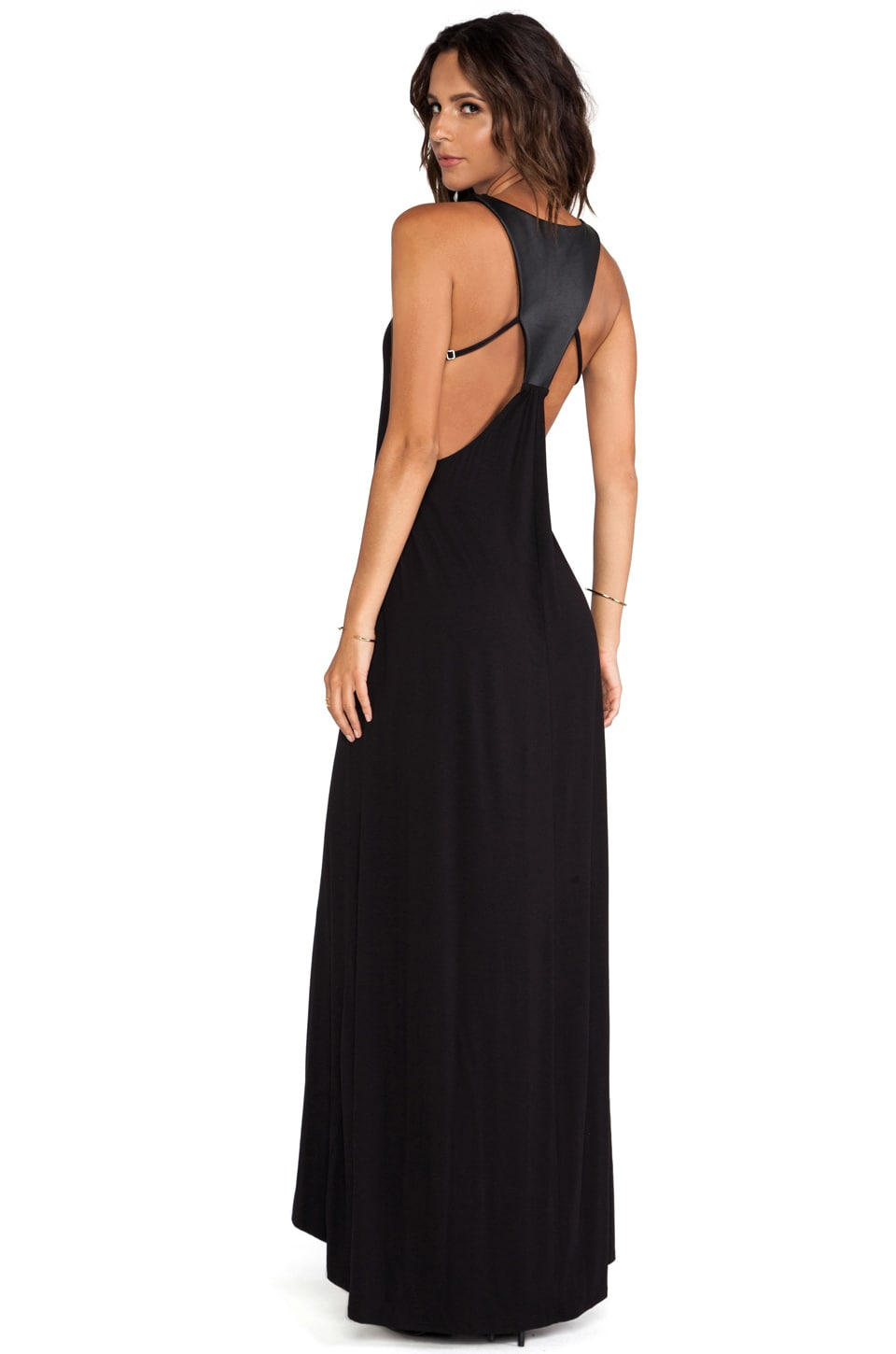 David Lerner Leather Panel Back Maxi Dress in Black & Black
