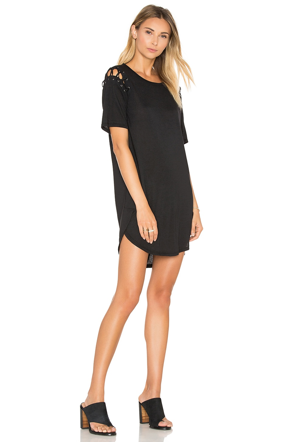 David Lerner Lace Up T Shirt Dress in Classic Black