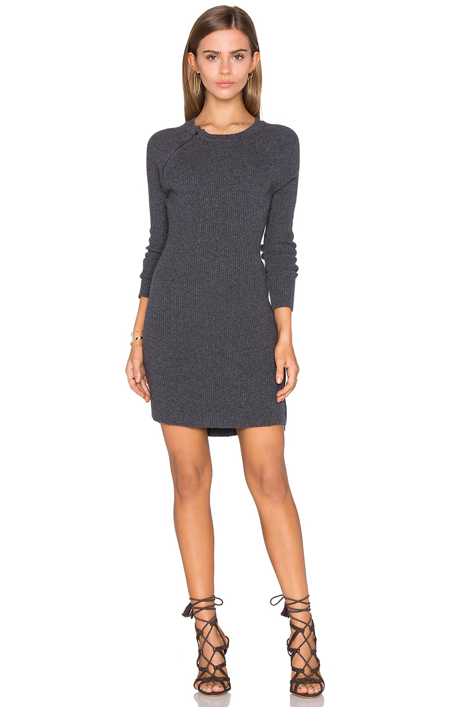 David Lerner Raglan Sweater Dress in Charcoal Heather