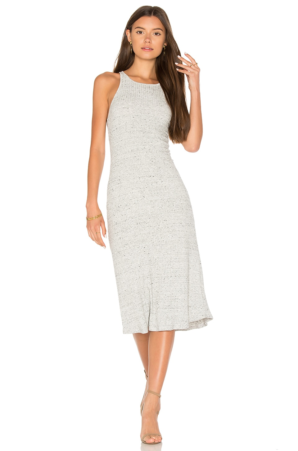 David Lerner Racer Mini Dress in Light Heather Grey