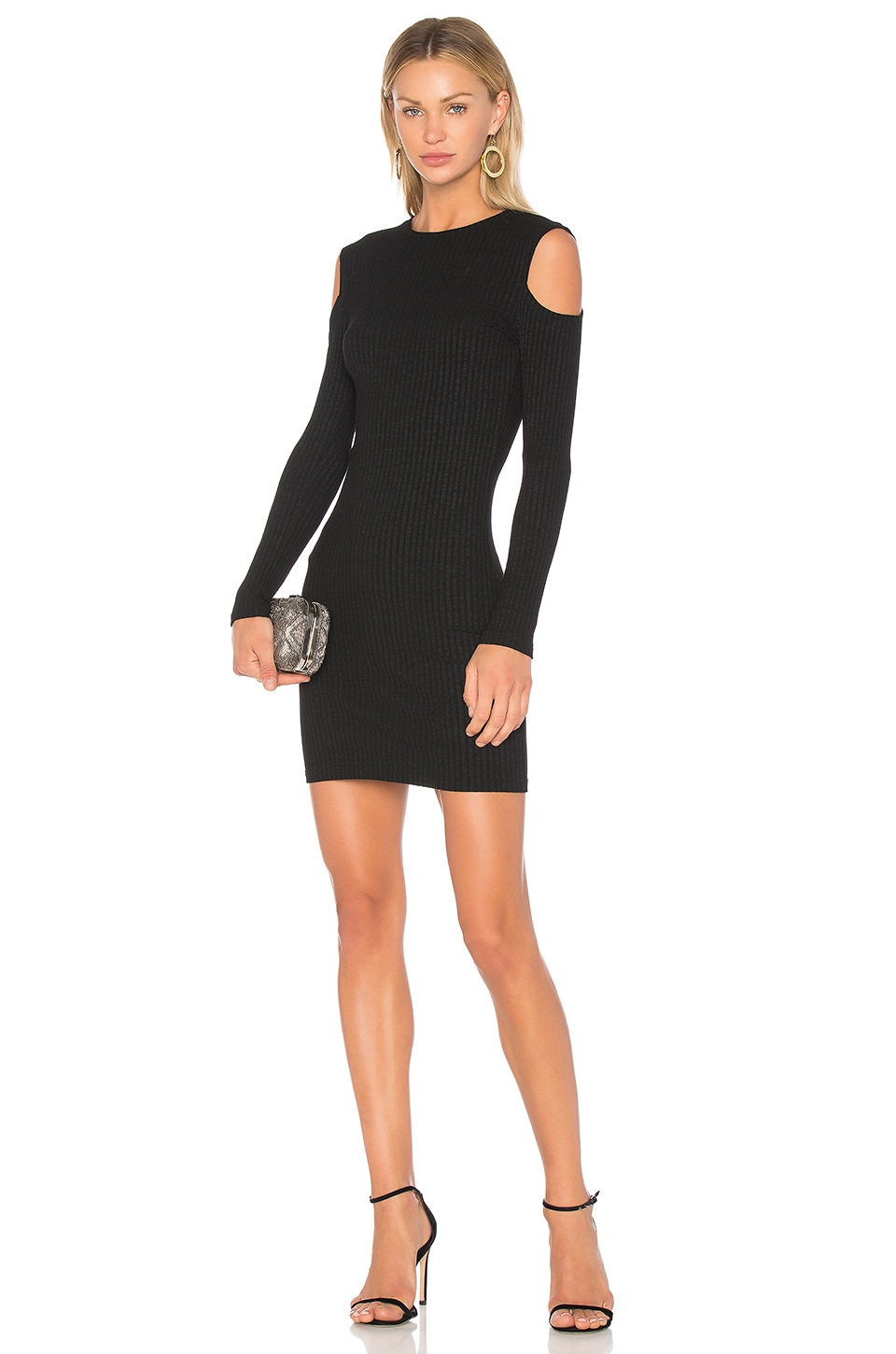 David Lerner Cold Shoulder Mini Dress in Classic Black