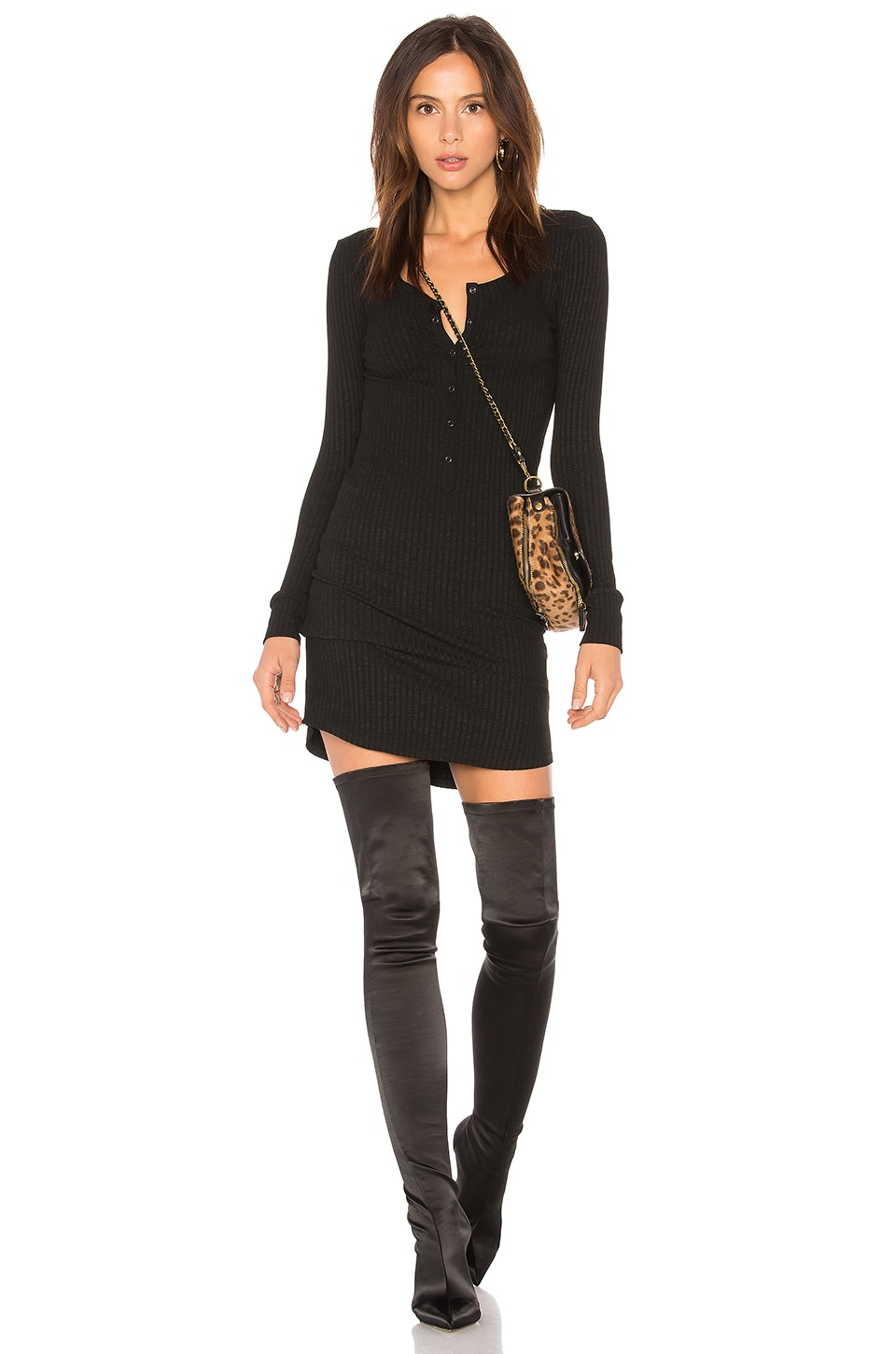 David Lerner Long Sleeve Henley T Shirt Dress in Classic Black