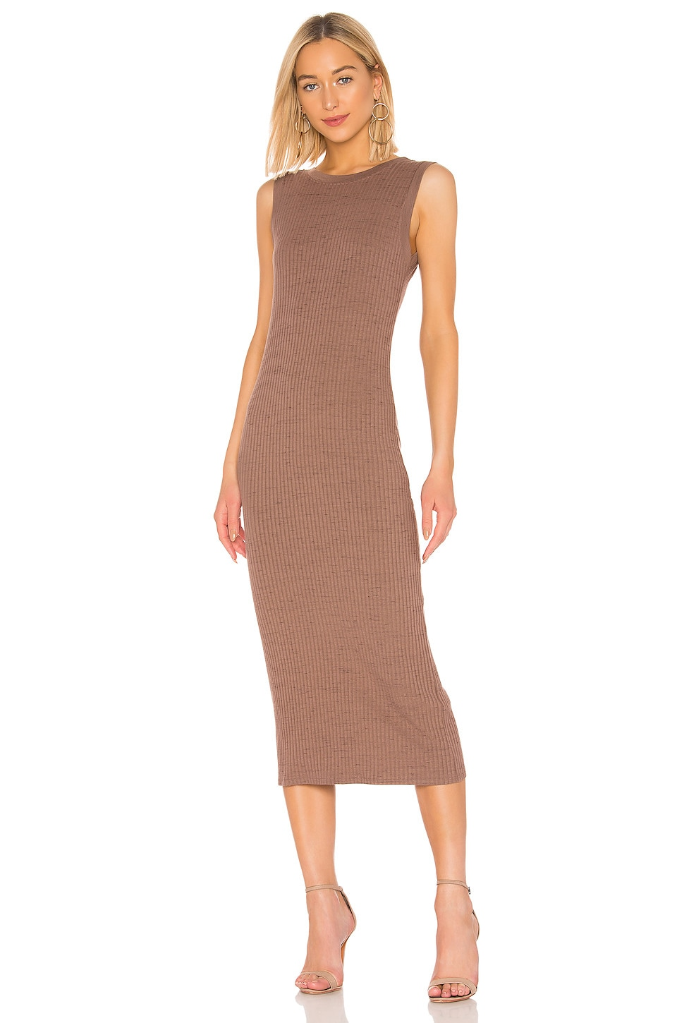 David Lerner Scoop Back Muscle Midi Dress in Fawn