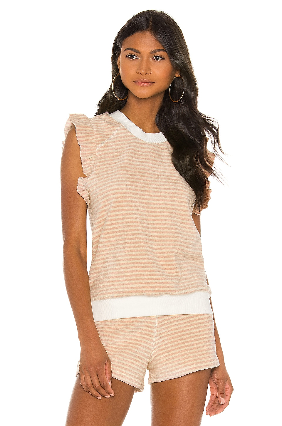 David Lerner Sleeveless Ruffle Pullover in Nude