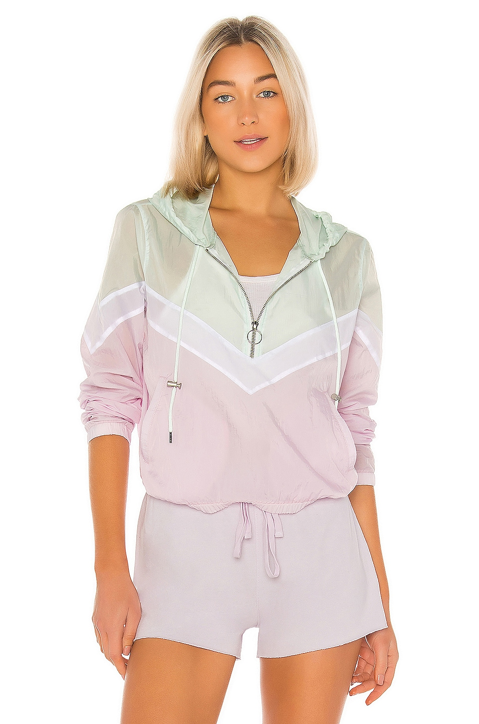 David Lerner Chevron Zip Front Windbreaker in Mint & Lavender