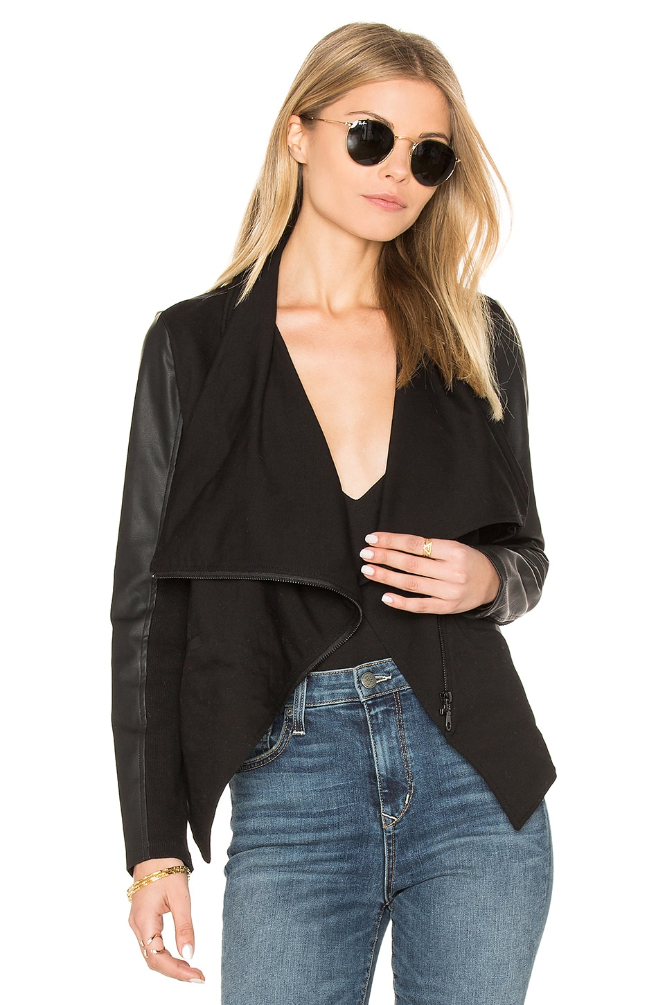 David Lerner Asymmetrical Draped Blazer in Classic Black