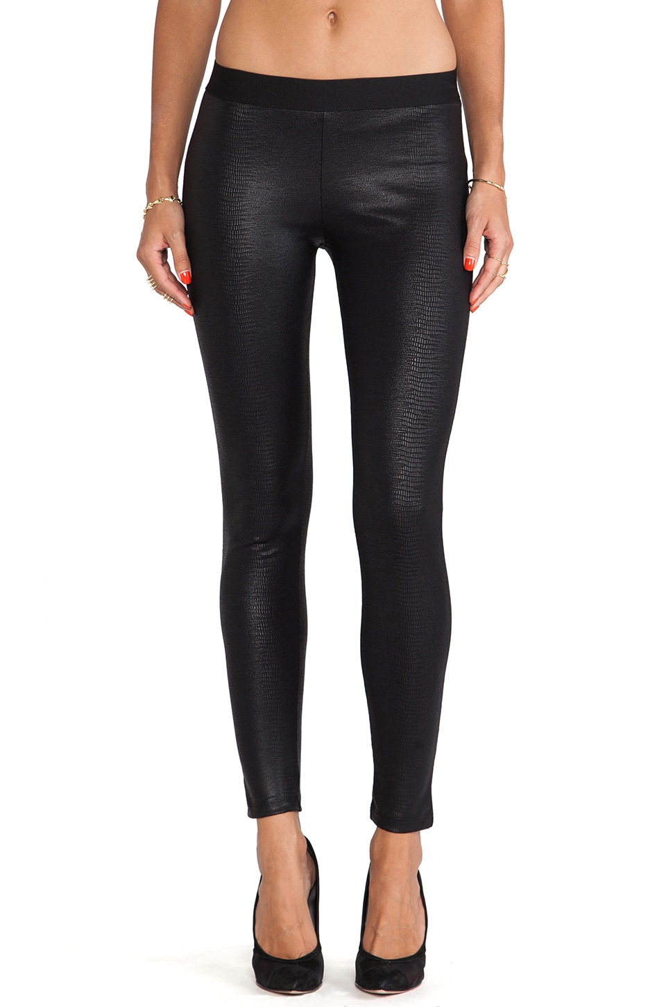 David Lerner Coated Lizard Yoke Legging in Classic Black