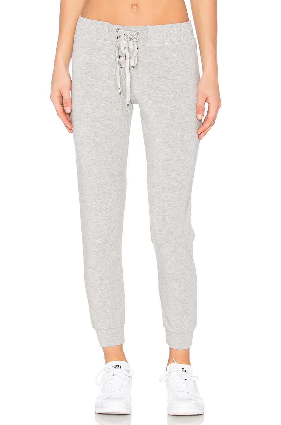 David Lerner Lace Front Track Pant in Medium Heather Grey