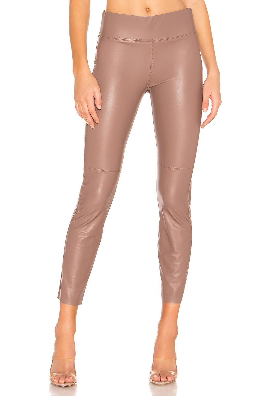 David Lerner Gemma Midrise Straight Leg Vegan Leather Skimmer in Fawn