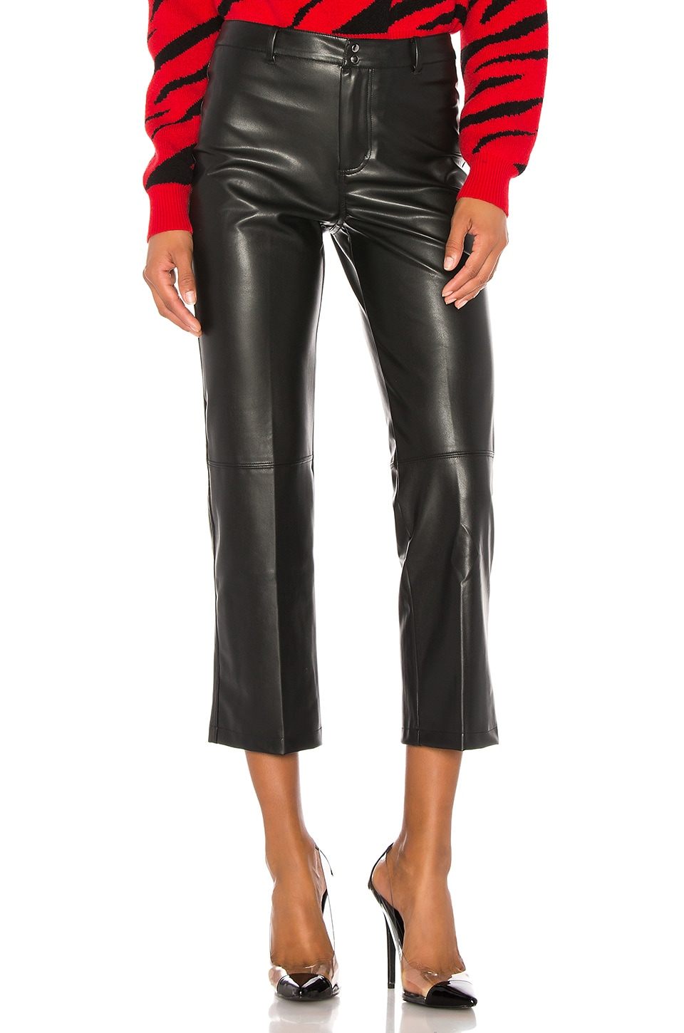 David Lerner Vegan Leather High Rise Straight Leg Pant in Black