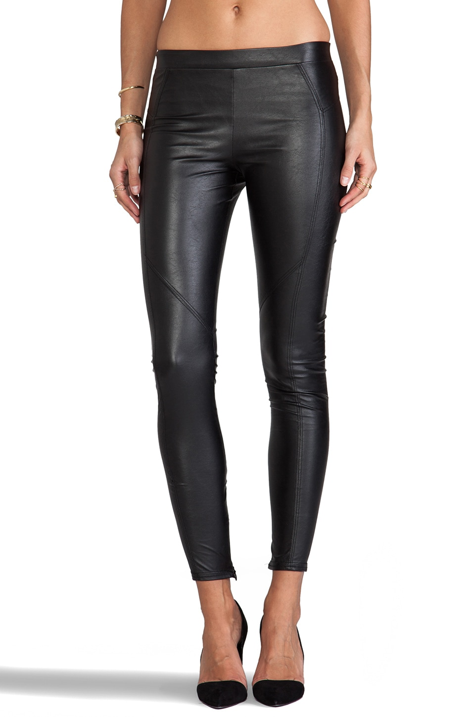 David Lerner Basic Faux Leather Legging in Black