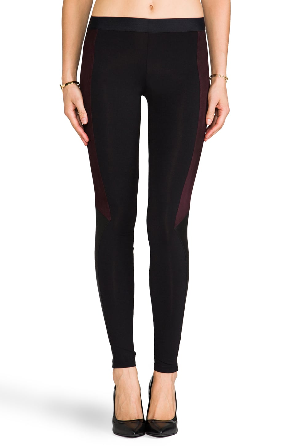 David Lerner The Tudor Legging in Black/Cocoa/Black