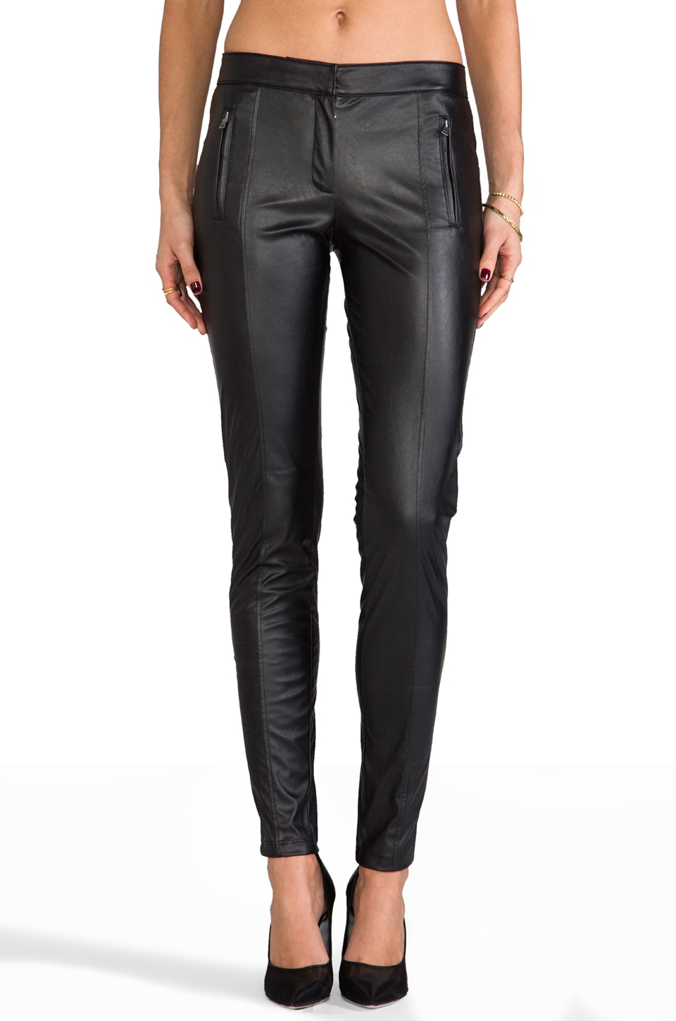 David Lerner The Monroe Pant Vegan Leather in Black