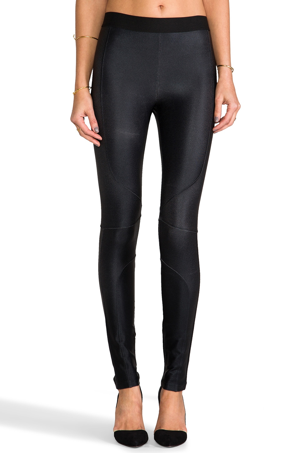 David Lerner Metallic Seamed Legging in Black