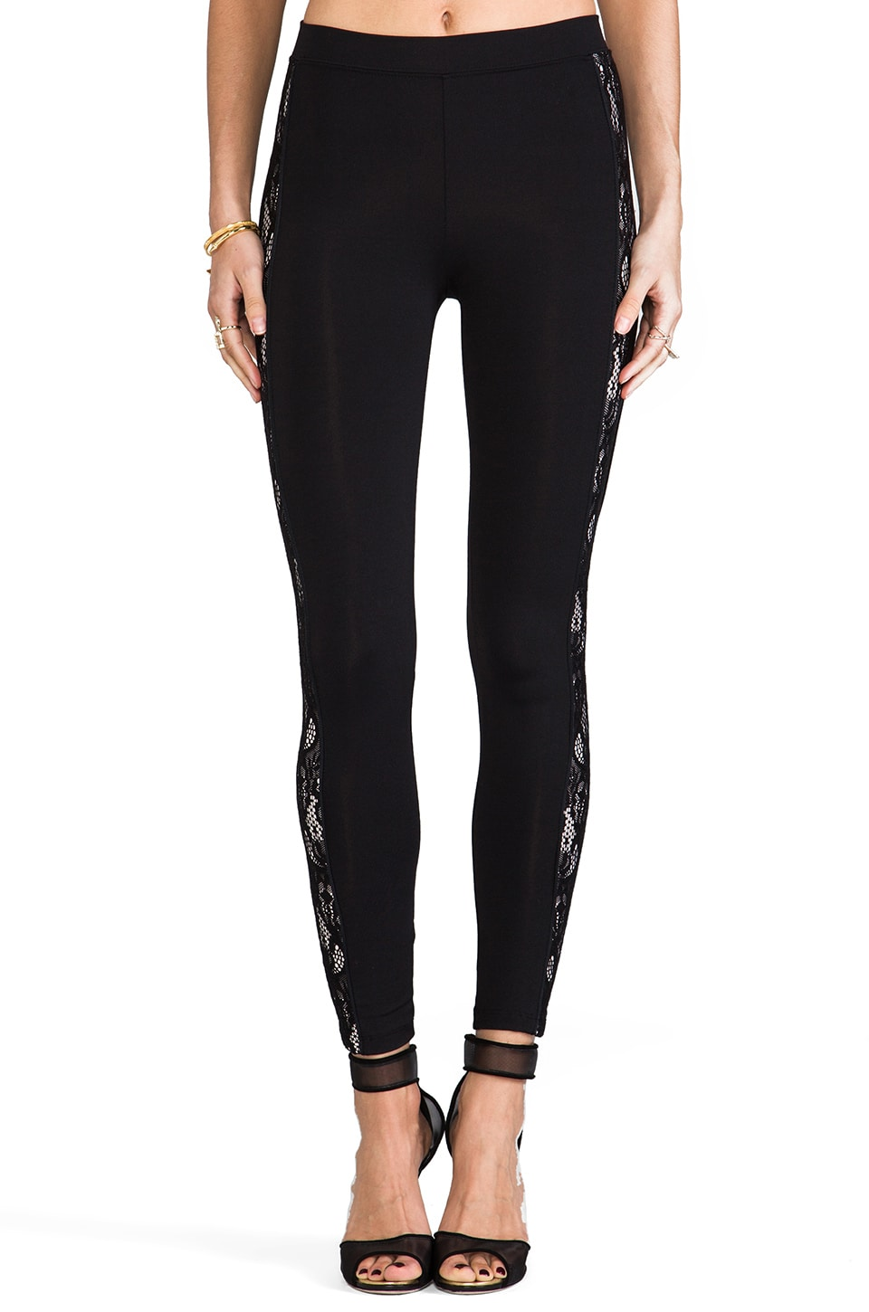 David Lerner Contrast Lace Side Panel Pant in Black/Blush